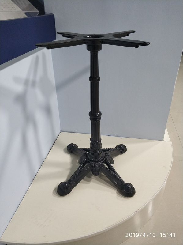 Fancy Vintage Metal Table Legs Sturdy Column Cast Iron Powder Coated Black Color