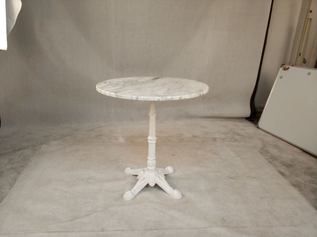 "Dia 17"" Restaurant Table Bases White Color Finish 28"" Height Cast Iron Material"